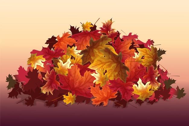 Pila realista de hojas de otoño