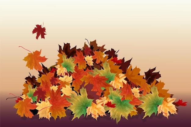 Pila realista de hojas