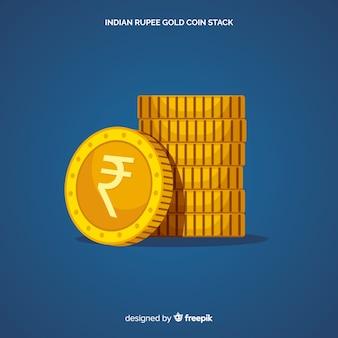 Pila de rupias indias de oro