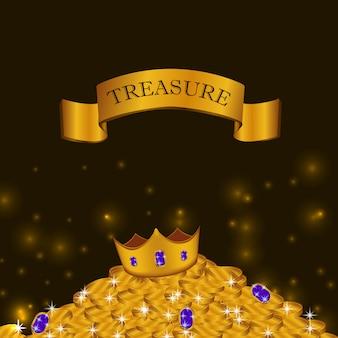 Pila de tesoro de monedas de oro con corona brillante resplandor