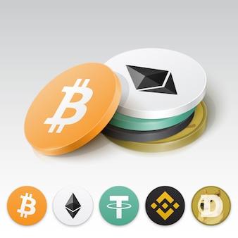 Pila de tokens de criptomonedas