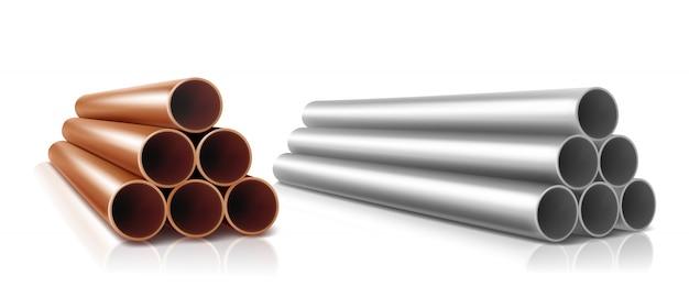 Pila de tubos, cilindros rectos de acero o cobre.