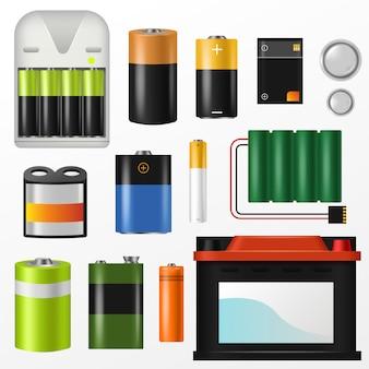 Pila de vectores de baterías de baterías alcalinas de potencia y conjunto de ilustración con batería o con batería de selección de energía potente acumulador aa aislado en espacio en blanco