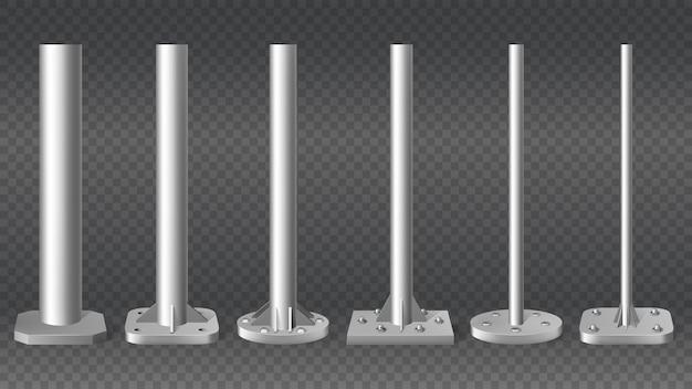 Pilares de acero realistas. tubos de poste de cilindro de metal, conjunto de columnas de acero 3d