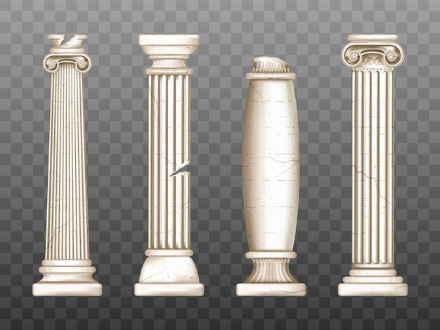 Pilares barrocos, columnas agrietadas del renacimiento romano