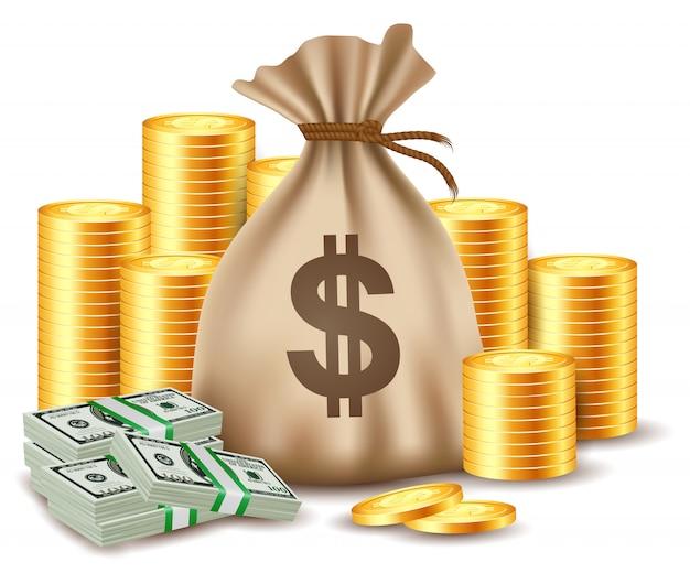 Pilas de monedas y bolsa de dinero.