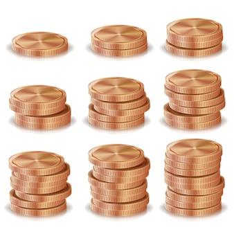 Pilas de monedas de bronce y cobre