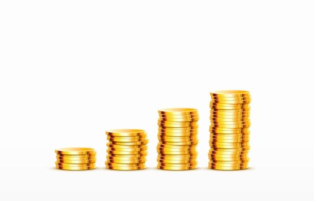 Pilas de monedas crecientes monedas de oro sobre fondo blanco