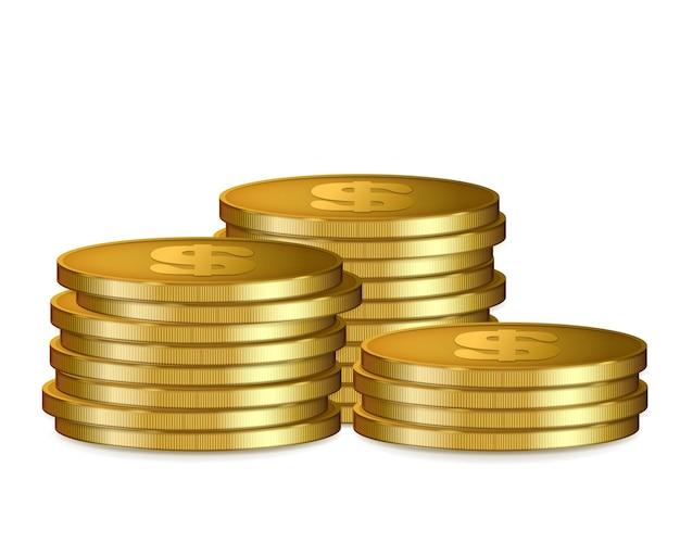 Pilas de monedas de oro, aisladas