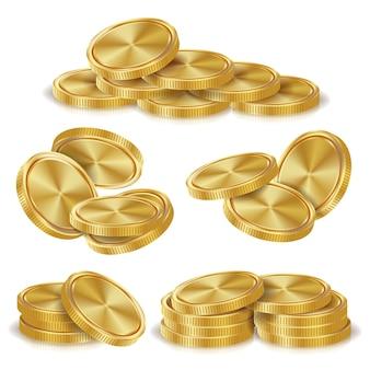 Pilas de monedas de oro. golden finance icons, sign