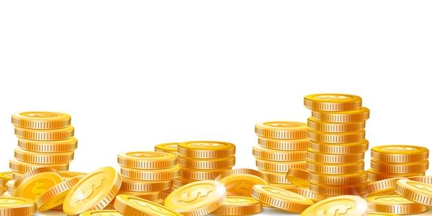 Pilas de monedas de oro. mucho dinero, finanzas, ganancias comerciales y riqueza, moneda de oro, pila, vector, ilustración