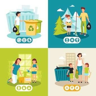 Pilas de plástico y recogida de residuos domésticos para el reciclaje de iconos planos cuadrados