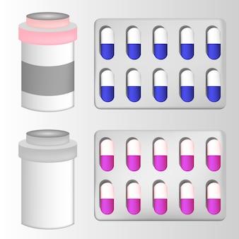 Píldora blister botella de vidrio con medicina líquida y tapa de plástico, médica y suplementos realista vector 3d