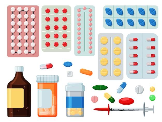 Píldora farmacéutica, droga, ilustración de medicina líquida