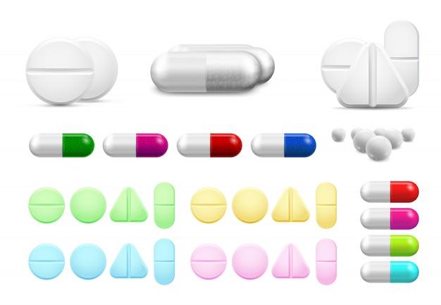 Píldoras blancas sanitarias aisladas