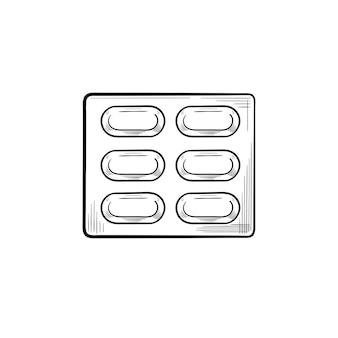 Píldoras blister contorno dibujado a mano doodle icono. caja de píldoras como concepto de cura, medicina, drogas y farmacia