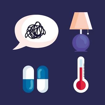 Píldoras de lámpara de burbujas de estrés de insomnio y diseño de termómetro, tema de sueño y noche