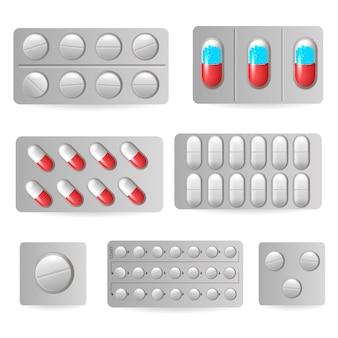 Píldoras médicas en ampollas, iconos de medicamentos medicinales
