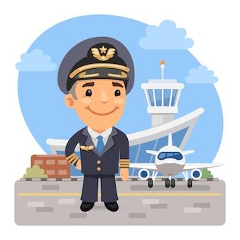 Piloto de avión de dibujos animados