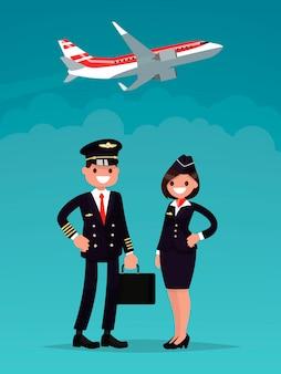 Piloto y una azafata sobre un fondo de un avión despegando.