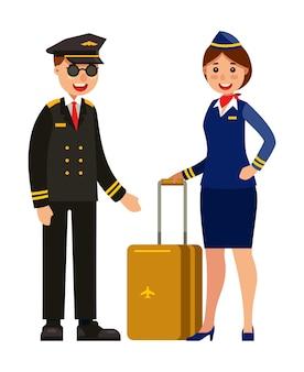 Piloto y azafata en uniforme