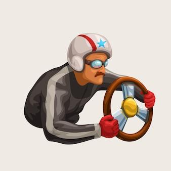 Piloto de carreras retro en blanco