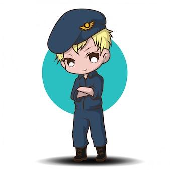 Piloto de la fuerza aérea de dibujos animados lindo