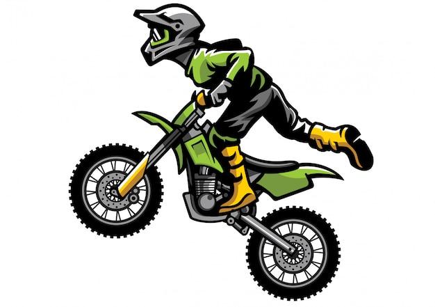 Piloto de motocross haciendo acrobacias