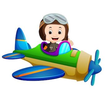 Piloto profesional que monta el avión que vuela