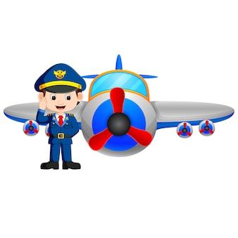 Piloto y avión de reacción en el fondo blanco