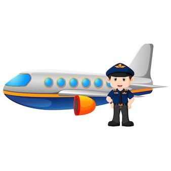 Piloto y avión en el fondo blanco