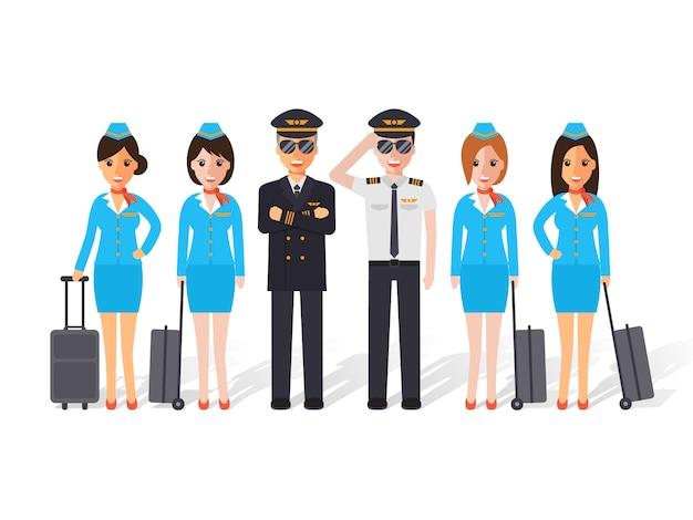 Pilotos y auxiliares de vuelo.