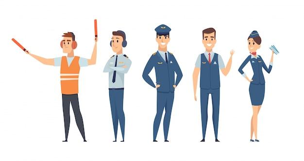 Pilotos avia compañía personas tripulación pilotos azafata avión comando personajes de aviación civil en estilo de dibujos animados
