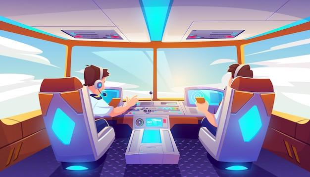 Pilotos en cabina de avión, jet con panel de control