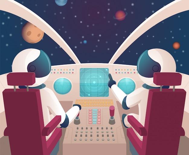 Pilotos en nave espacial. cabina de lanzadera con pilotos en trajes de dibujos animados con planetas
