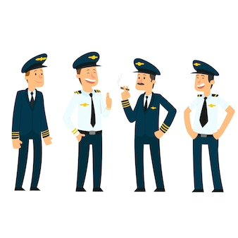 Pilotos en uniforme.