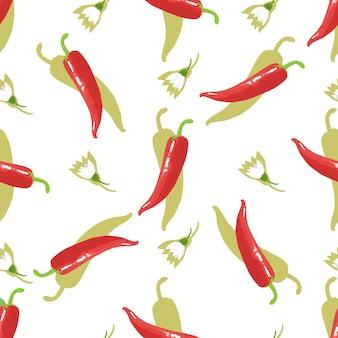 Pimienta de cayena picante. chile y flores de patrones sin fisuras. comida mexicana.