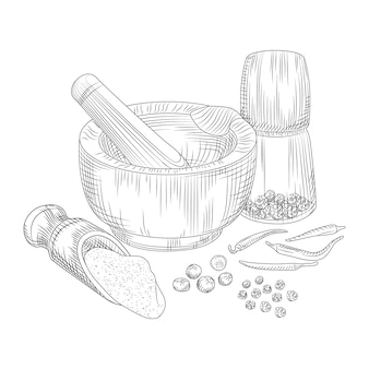 Pimienta en un mortero con una mano de mortero. pimienta de jamaica, pimienta negra y chile.