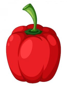 Un pimiento rojo sobre fondo blanco