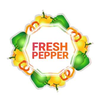 Pimiento vegetal colorido círculo copia espacio orgánico sobre fondo blanco patrón estilo de vida saludable o concepto de dieta