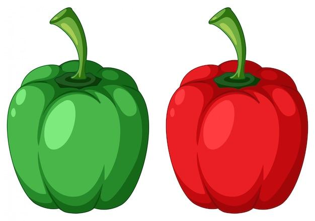 Pimiento verde y rojo