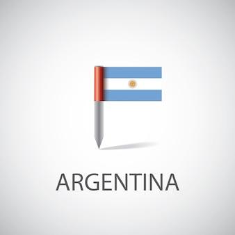 Pin de la bandera argentina sobre fondo blanco.