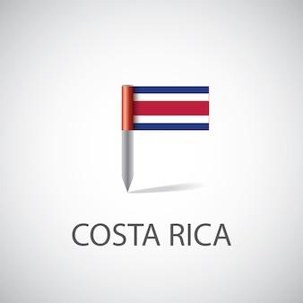 Pin de la bandera de costa rica sobre fondo blanco.