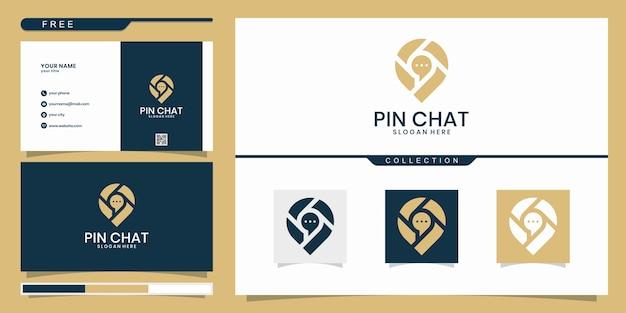 Pin de burbuja de chat con plantilla de logotipo de icono de mapa.