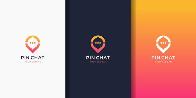 Pin chat, plantilla de logotipo de chat de ubicación