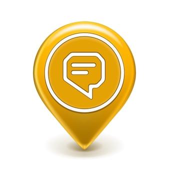 Pin de icono de mensaje aislado