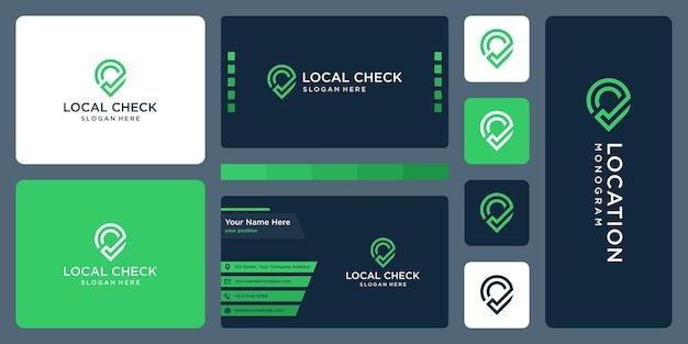 Pin logo, ubicación y marca de verificación. diseño de tarjetas de visita.