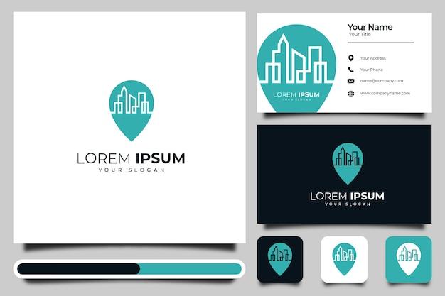 Pin de mapa con diseño creativo del logotipo de la construcción de la ciudad y plantilla de tarjeta de visita