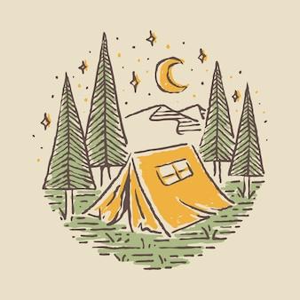 Pin de parche de insignia de línea salvaje de aventura de naturaleza de camping