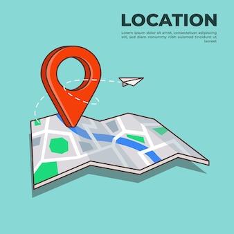 Pin de ubicación gps en la ilustración del mapa